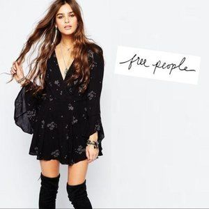 Free People Black Embroidered Dress 0